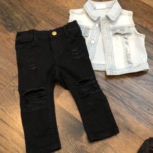 Old Navy Distressed Skinny Jeans and Denim Vest